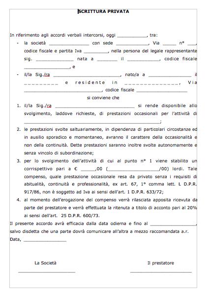 Contratto prestazione occasionale scaricabile e for Lettera di incarico prestazione servizi