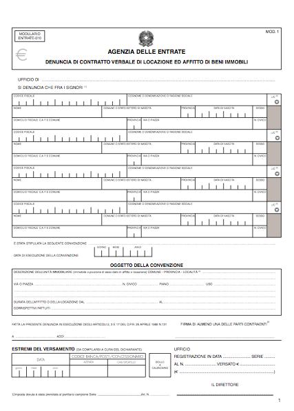 Guide e modelli di contratto per affitti e locazioni gratis for Registrazione contratto preliminare di compravendita agenzia delle entrate