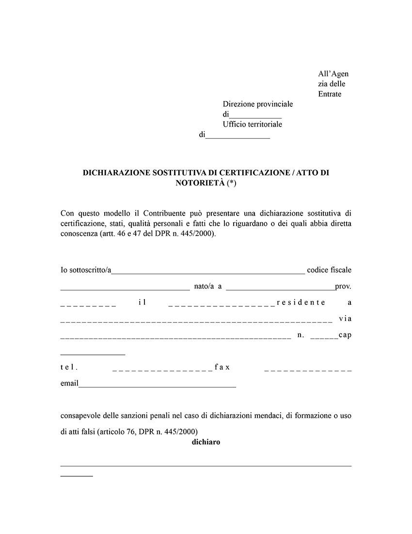 Dichiarazione sostitutiva agenzia delle entrate doc editabile for Agenzia entrate dichiarazione precompilata