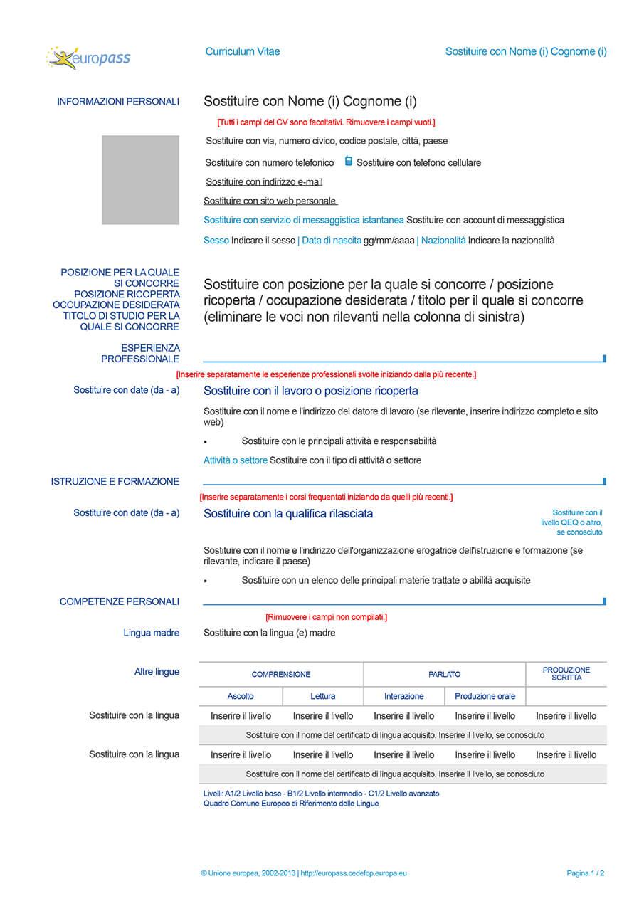 curriculum vitae europass completate
