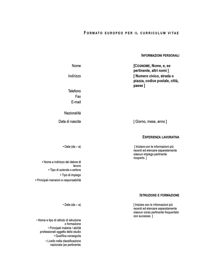 Modello Di Curriculum Europass DOC Editabile