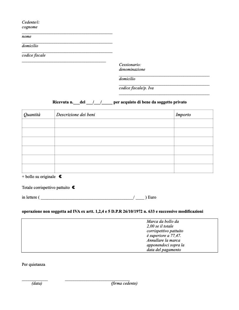 Ricevuta cessione beni da privato doc editabile - Acconto per acquisto casa ...