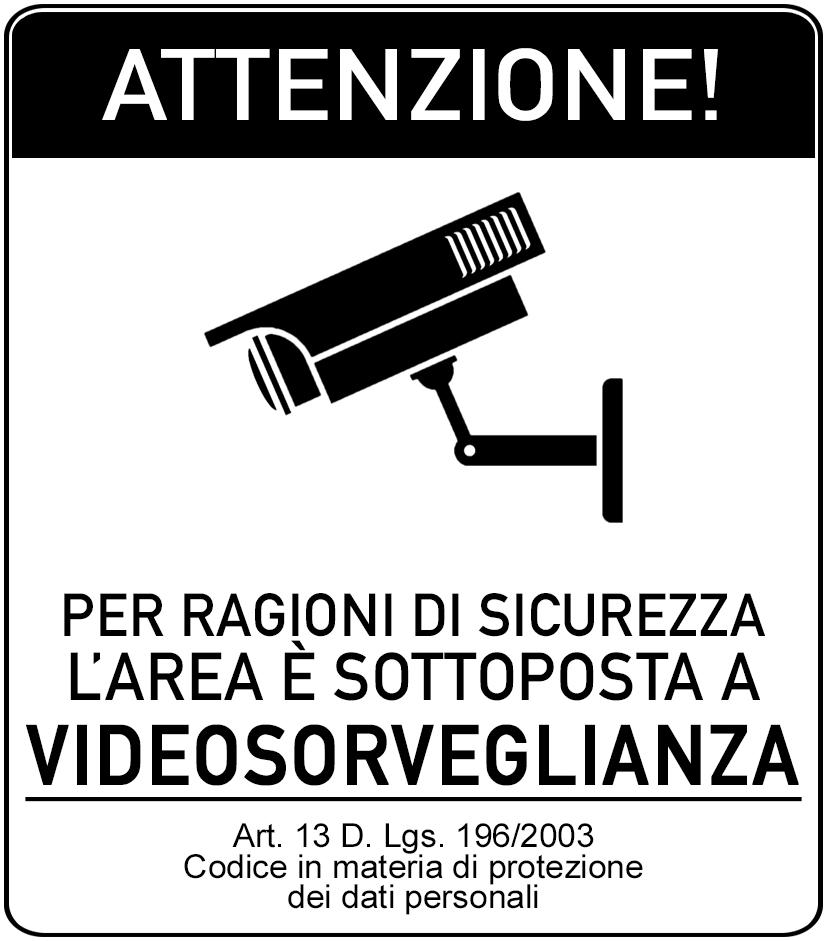 cartello area videosorvegliata da
